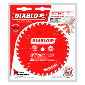 D0536X_Package 5-3/8 in. x 36 tooth finish trim saw blade cutting wood