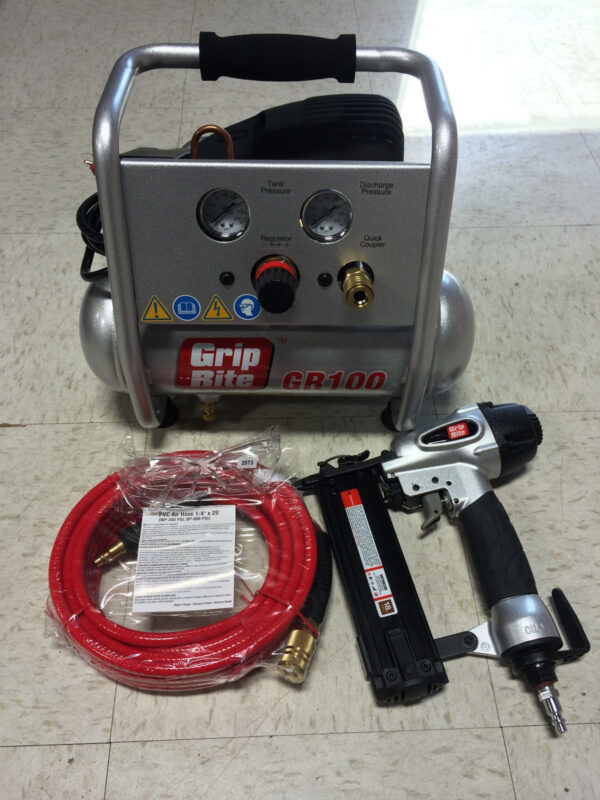 Grip Rite Air Compressor GRTBK200 Brand Nailer And Compressor Combo Kit